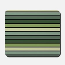 Monochrome Stripes: Shades of Green Mousepad