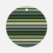 Monochrome Stripes: Shades of Green Round Ornament
