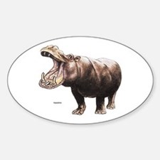 Hippo Hippopotamus Oval Decal
