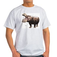 Hippo Hippopotamus Ash Grey T-Shirt