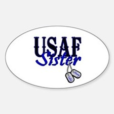 Air Force Sister Dog Tag Oval Decal