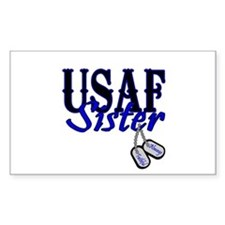 Air Force Sister Dog Tag Rectangle Decal