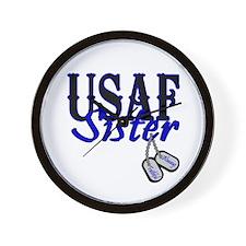 Air Force Sister Dog Tag Wall Clock