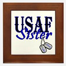 Air Force Sister Dog Tag Framed Tile