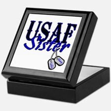 Air Force Sister Dog Tag Keepsake Box