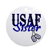 Air Force Sister Dog Tag Ornament (Round)