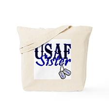 Air Force Sister Dog Tag Tote Bag