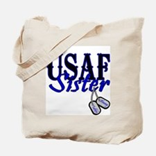Air Force Sister Dog Tag Tote Bag