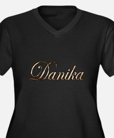 Cute Danika Women's Plus Size V-Neck Dark T-Shirt