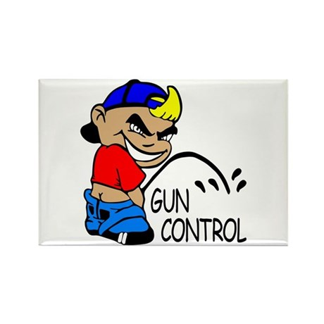 P On Gun Control Rectangle Magnet