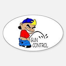 P On Gun Control Oval Decal