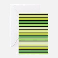 Monochrome Stripes: Shades of Green Greeting Card
