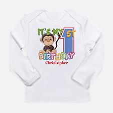 Monkey 1st Birthday Cus Long Sleeve Infant T-Shirt