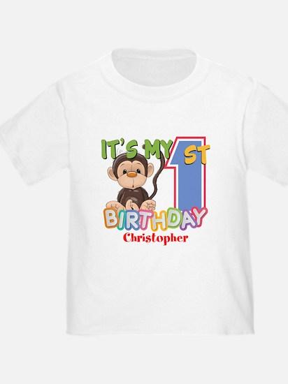 Monkey 1st Birthday Custom T