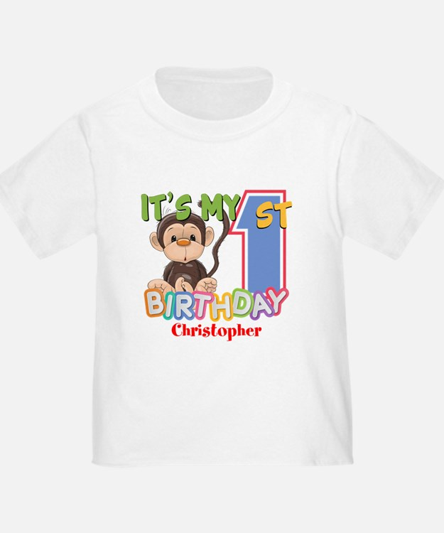 Monkey 1st Birthday Custom T