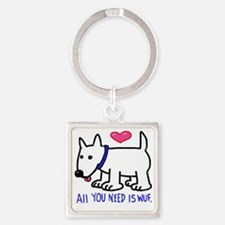 Cute Bow wow Square Keychain
