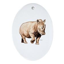 Rhino Rhinoceros Oval Ornament