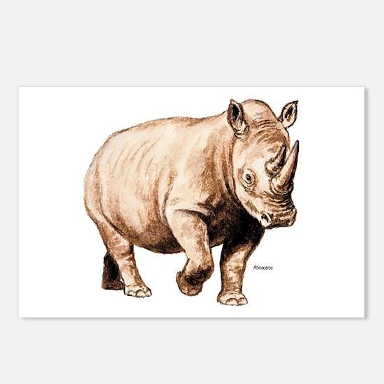 Rhino Rhinoceros Postcards (Package of 8)