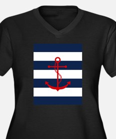 Red Anchor on Plus Size T-Shirt