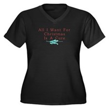 OVARIAN CANCER CHRISTMAS CURE Women's Plus Size V-