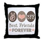 Peace Love BFF Friendship Throw Pillow