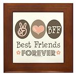 Peace Love BFF Friendship Framed Tile