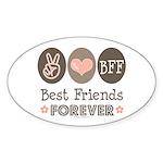 Peace Love BFF Friendship Oval Sticker