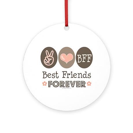 Peace Love BFF Friendship Ornament (Round)