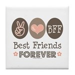 Peace Love BFF Friendship Tile Coaster