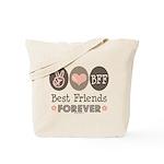 Peace Love BFF Friendship Tote Bag
