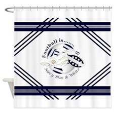 Navy Blue and White Football Soccer Shower Curtain