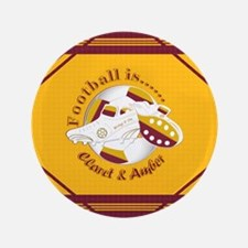 """Claret and Amber Football Soccer 3.5"""" Button (100"""