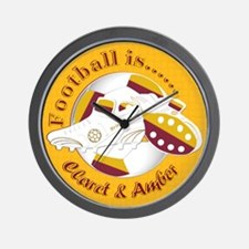 Claret and Amber Football Soccer Wall Clock