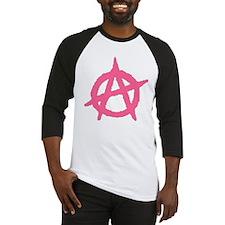 Pink Anarchy Symbol Baseball Jersey
