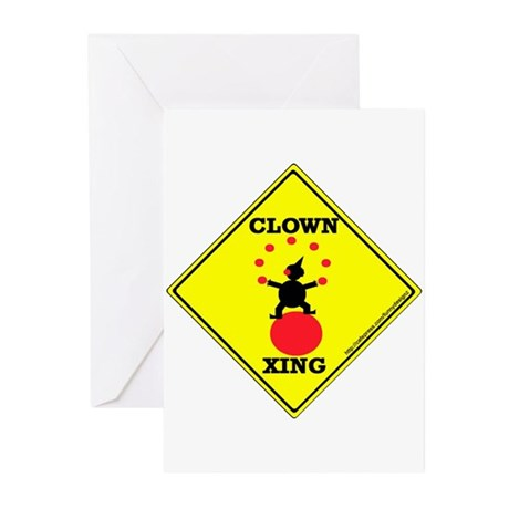Clown Xing Greeting Cards (Pk of 10)