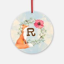 MONOGRAM Woodland Fox Round Ornament