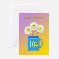 104th birthday, smiling daisy flowers Greeting Car