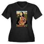 Mona / Chow Women's Plus Size V-Neck Dark T-Shirt