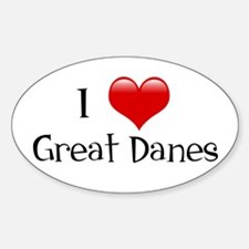 I Love Great Danes Oval Decal