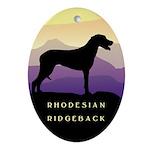 Ridgeback Dog Mountains Oval Ornament