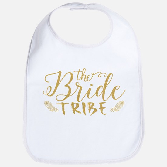 The Bride tribe Gold Glitter Modern Text Desig Bib