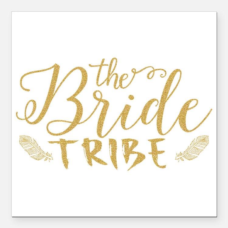 """The Bride tribe Gold Gli Square Car Magnet 3"""" x 3"""""""