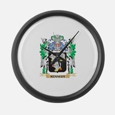Kennedy Coat of Arms - Family Cre Large Wall Clock