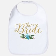 The Bride-Modern Text Design Gold Glitter & Fl Bib