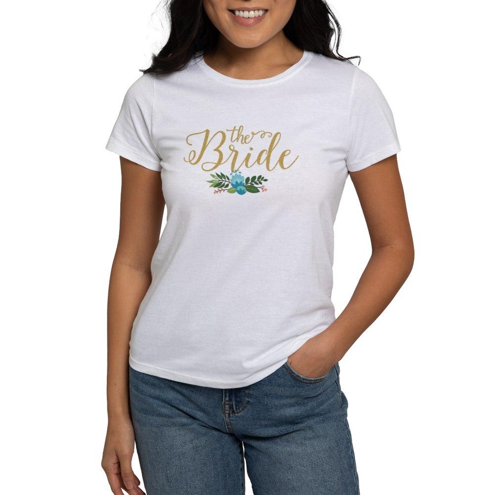 CafePress The Bride-Modern Text Design Gold Glitter T-Shirt
