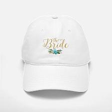 The Bride-Modern Text Design Gold Glitter & Fl Baseball Baseball Cap