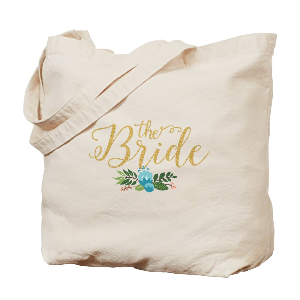 CafePress The Bride-Modern Text Design Gold Glitter Tote Bag