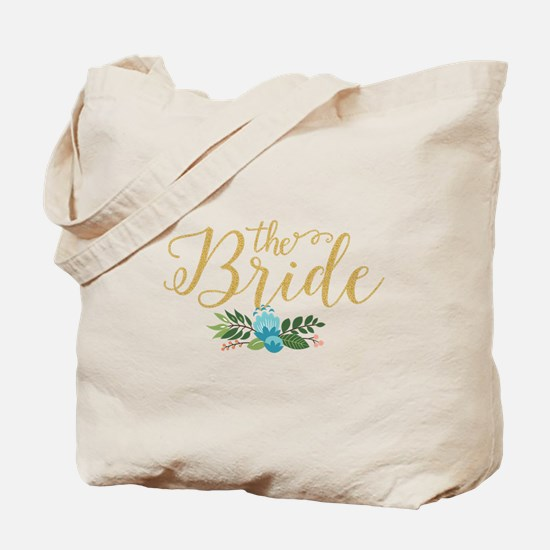 The Bride-Modern Text Design Gold Glitter Tote Bag