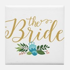 The Bride-Modern Text Design Gold Gli Tile Coaster
