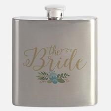 The Bride-Modern Text Design Gold Glitter & Flask